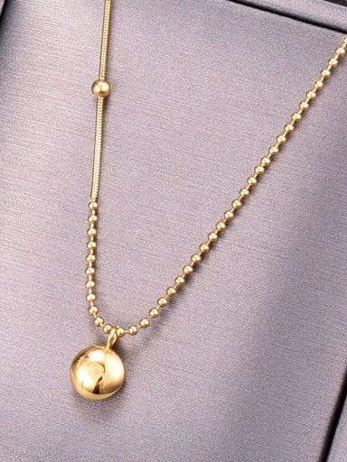 Titanium Bead chain Minimalist round pendant Necklace