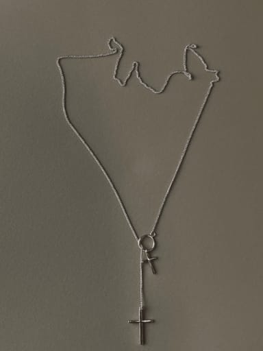 925 Sterling Silver Cross Minimalist Lariat Necklace
