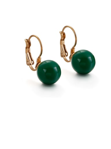 green Stainless Steel Imitation Pearl Multi Color Round Minimalist Hook Earring
