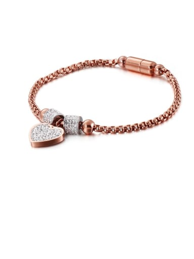 Rose Gold Titanium Cubic Zirconia White Heart Minimalist Adjustable Bracelet