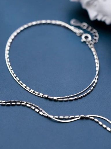 925 sterling silver simple double layer Chain Anklet
