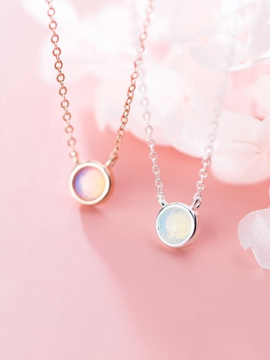 925 Sterling Silver Opal Round Minimalist Necklace