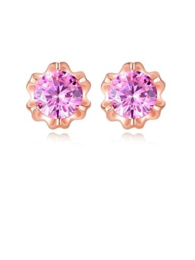 925 Sterling Silver minimalist flower Cubic Zirconia  Stud Earring