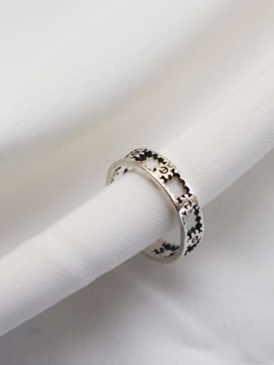 925 Sterling Silver Gear Vintage Free Size Midi Ring