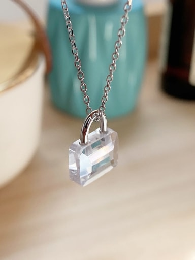 925 Sterling Silver Acrylic Rectangle mini lock Necklace
