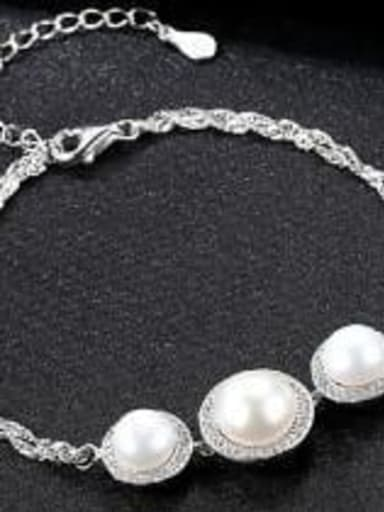 White 9e09 925 Sterling Silver ROUND  Freshwater Pearl Bracelet