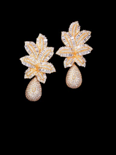 gold Copper With Gold Plated Luxury Flower Cluster Earrings