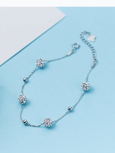 925 Sterling Silver Rhinestone White Ball Minimalist Beaded Bracelet