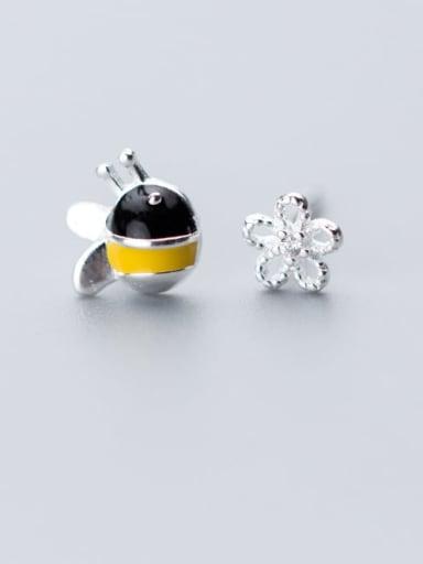 925 Sterling Silver Cute  Simple asymmetric bee Flower  Stud Earring