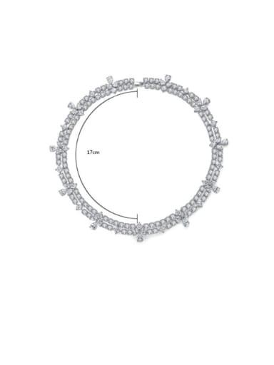 Copper Cubic Zirconia Geometric Luxury Multi Strand Necklace