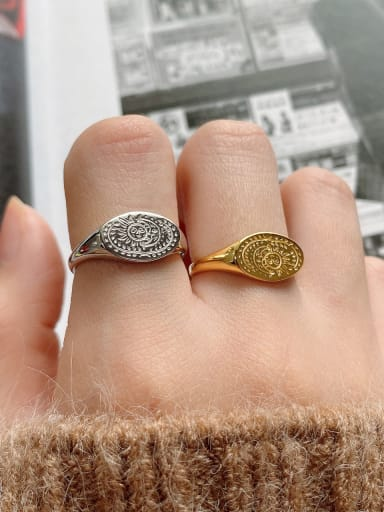 925 Sterling Silver Vintage  Sun Moon Free Size Ring