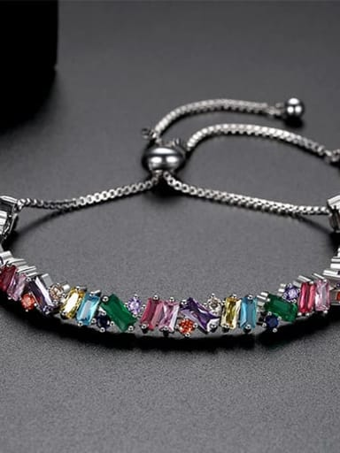 Color electroplated platinum t14e16 Copper Cubic Zirconia Square Ethnic Link Bracelet