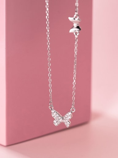 925 Sterling Silver Rhinestone Butterfly Minimalist Necklace