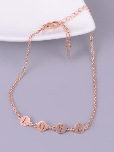 Rose Gold Wafer Love  Minimalist Titanium Anklet