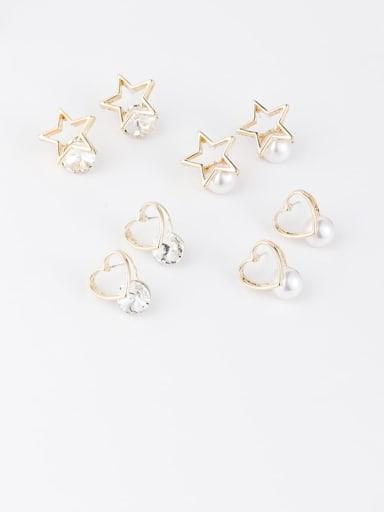 Zinc Alloy Imitation Pearl White Star Minimalist Stud Earring