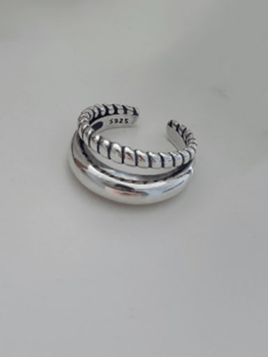 925 Sterling Silver Vintage Double Woven  Free Size Ring