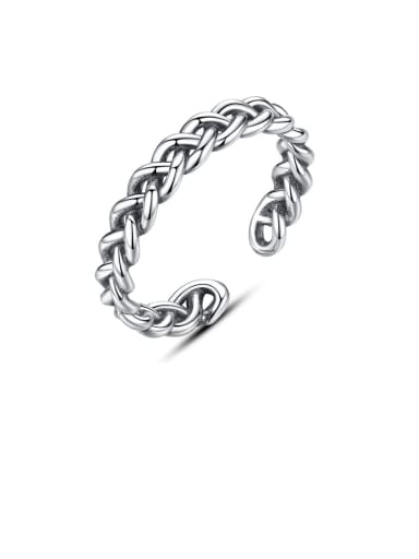 925 Sterling Silver minimalist antique twist chain free size band ring