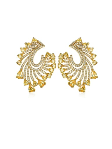 Copper Cubic Zirconia Geometric Luxury Stud Earring