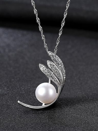White Platinum 6c09 925 Sterling Silver Freshwater Pearl Leaf pendant Necklace