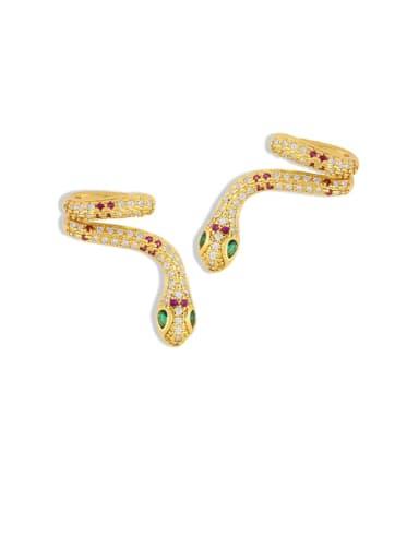 Brass Cubic Zirconia Snake Vintage Stud Earring