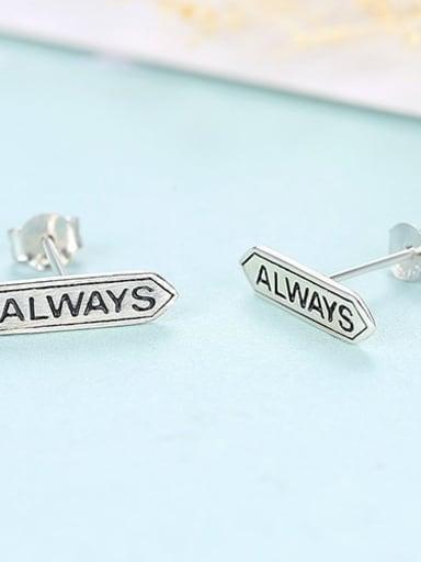 Platinum 16f03 925 Sterling Silver Letter Cute Simple geometric letters Stud Earring