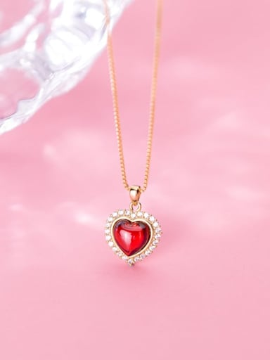 925 Sterling Silver Synthetic Red Agate Heart Shaped Diamond Necklace