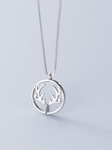 925 Sterling Silver Simple Round  antlers  Necklace