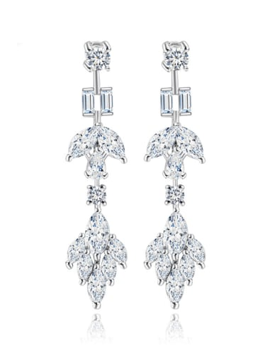 platinum Copper Cubic Zirconia Geometric Dainty Chandelier Earring
