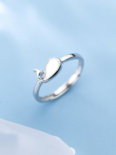925 Sterling Silver  Fashion Simple Cute Seashell Dolphin Free Size Ring