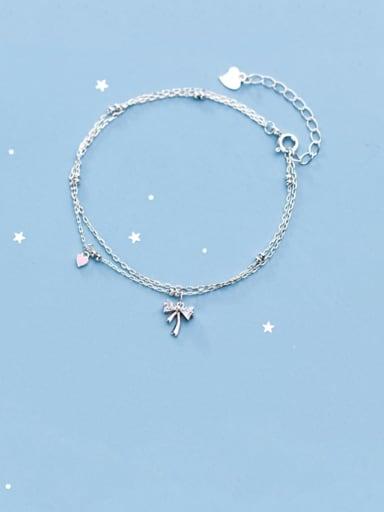 925 Sterling Silver Cubic Zirconia  Butterfly Minimalist Strand Bracelet