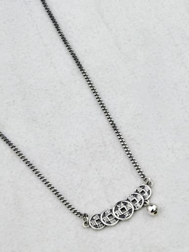 B section (xl069) Vintage Sterling Silver With Gun Plated Vintage Round Necklaces