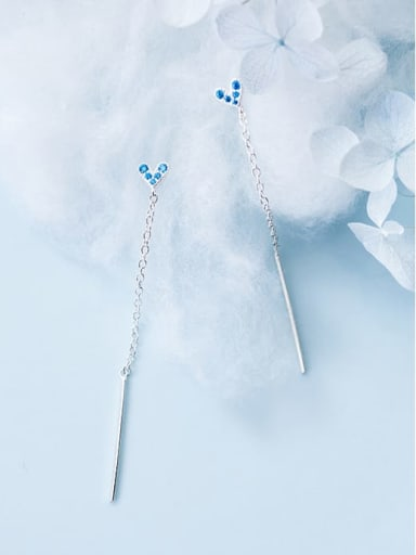 925 Sterling Silver Rhinestone Blue Heart Minimalist Threader Earring