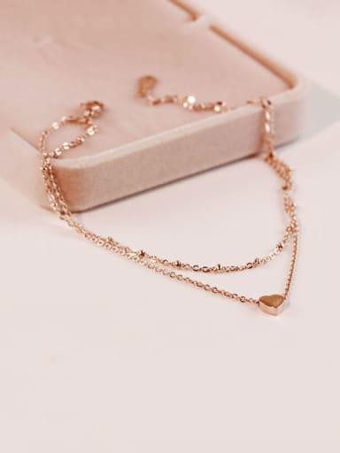 Titanium Smooth Heart Trend Strand Bracelet