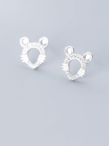 925 Sterling Silver Minimalist Hollow Mouse  Stud Earring