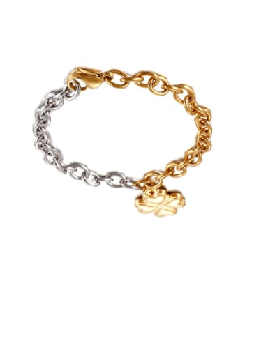 gold Stainless Steel Smooth Flower Minimalist  Hollow  Chian   Bracelet