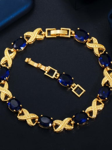 blue Copper Cubic Zirconia Geometric Luxury Bracelet