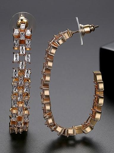 White zirconium plating 18K t04i19 Copper Cubic Zirconia Multi Color Square Statement Drop Earring