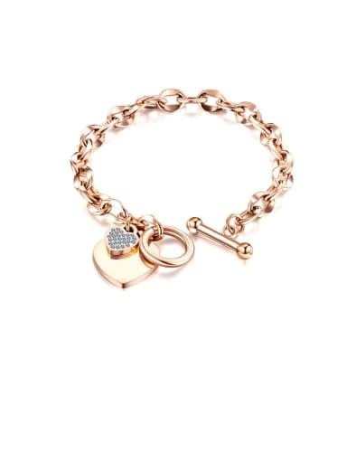 1012 [rose gold] Titanium Rhinestone White Heart Minimalist Link Bracelet