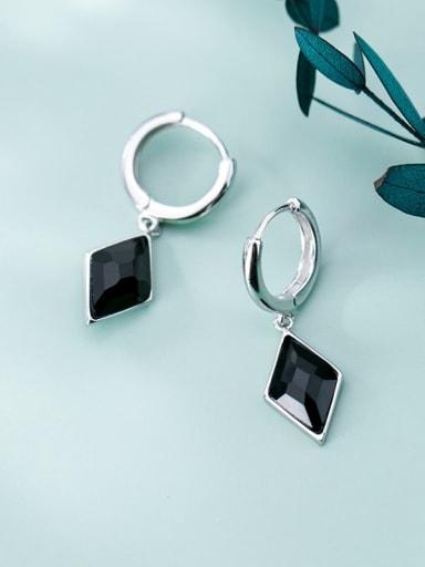 925 Sterling Silver Carnelian Black Square Vintage Huggie Earring