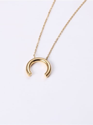 Titanium  Smooth Moon Minimalist Necklaces