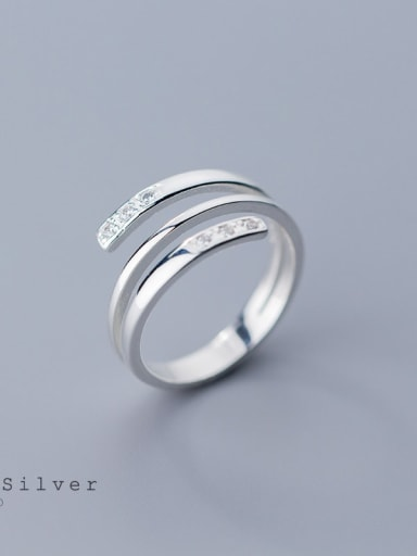925 Sterling Silver  Minimalist Three-layer line  Free Size Ring