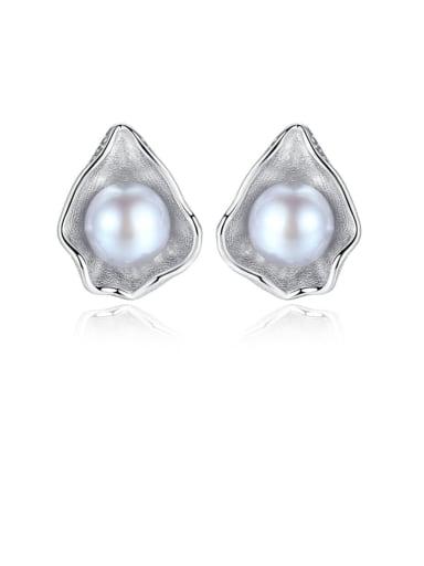 925 Sterling Silver Freshwater Pearl White Irregular Vintage Stud Earring