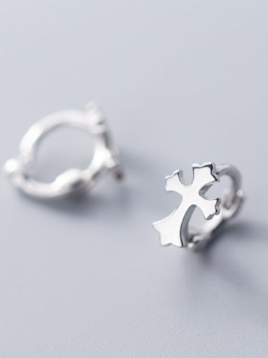 925 Sterling Silver  Minimalist Smooth Cross Huggie Earring