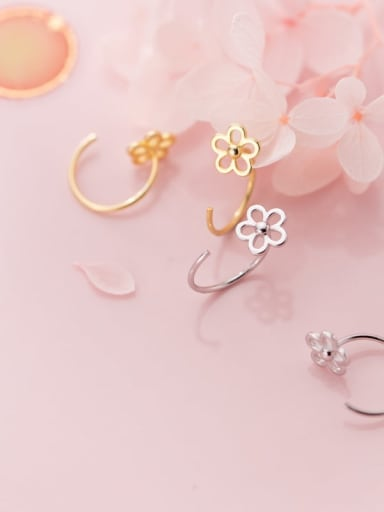 925 Sterling Silver Hollow Flower Minimalist Hook Earring