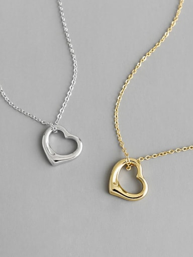 S925 Sterling Silver Fashion minimalist Heart Necklace