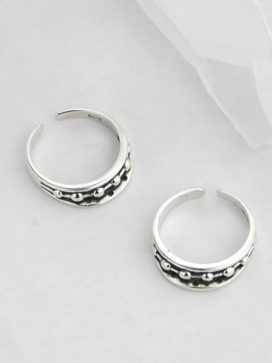 Vintage Sterling Silver With Antique Silver Plated Vintage Irregular Free Size Rings