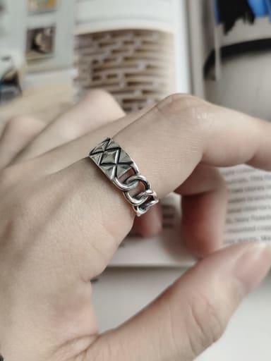 925 Sterling Silver Minimalist Retro Geometric   Free Size Ring