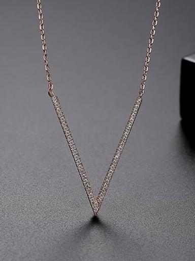 rose-T11I04 Copper Cubic Zirconia White Irregular Minimalist Lariat Necklace