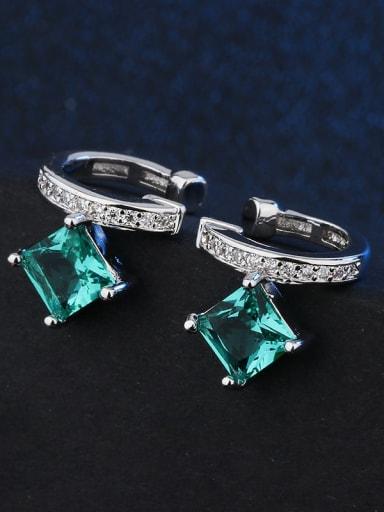 platinum Copper Glass Stone Geometric Vintage Huggie Earring