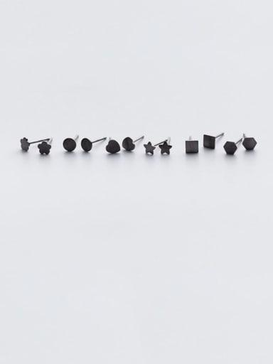 925 Sterling Silver Black Enamel Geometric Minimalist Stud Earring